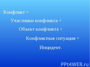 Конфликт =Участники конфликта +Объект конфликта +Конфликтная ситуация +Инцидент.