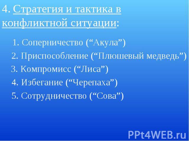 """4. Стратегия и тактика в конфликтной ситуации: 1. Соперничество (""""Акула"""") 2. Приспособление (""""Плюшевый медведь"""") 3. Компромисс (""""Лиса"""")4. Избегание (""""Черепаха"""")5. Сотрудничество (""""Сова"""")"""