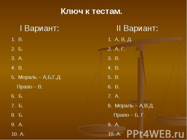 Ключ к тестам. I Вариант:В.Б.А.В.Мораль – А,Б,Г,Д. Право – В.6. Б.7. Б.8. Б.9. А.10. А. II Вариант:А, В, Д.А, Г.В.В.В.В.А.Мораль – А,В,Д. Право – Б, Г.А. А.