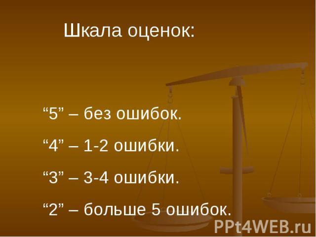 "Шкала оценок:""5"" – без ошибок.""4"" – 1-2 ошибки.""3"" – 3-4 ошибки.""2"" – больше 5 ошибок."
