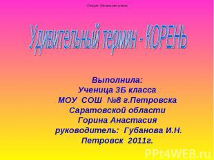 Удивительный термин - Корень Выполнила:Ученица 3Б класса МОУ СОШ №8 г.Петровска