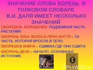 ЗНАЧЕНИЕ СЛОВА КОРЕНЬ В ТОЛКОВОМ СЛОВАРЕ В.И. ДАЛЯ ИМЕЕТ НЕСКОЛЬКО ЗНАЧЕНИЙ 1)КО