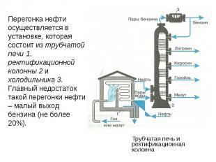 Перегонка нефти осуществляется в установке, которая состоит из трубчатой печи 1,