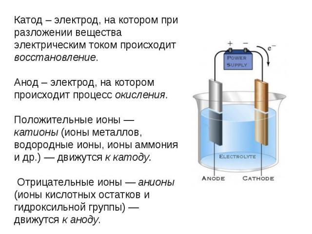 Катод – электрод, на котором при разложении вещества электрическим током происходит восстановление.Анод – электрод, на котором происходит процесс окисления.Положительные ионы — катионы (ионы металлов, водородные ионы, ионы аммония и др.) — движутся …