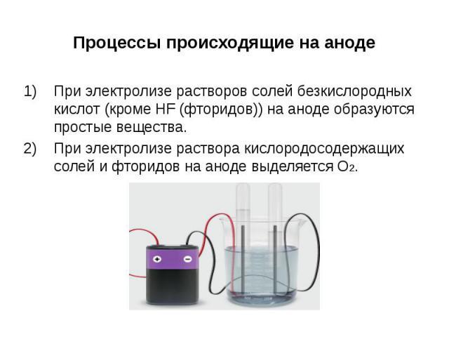 При электролизе растворов солей безкислородных кислот (кроме HF (фторидов)) на аноде образуются простые вещества.При электролизе раствора кислородосодержащих солей и фторидов на аноде выделяется О2.