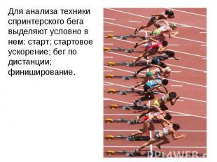Для анализа техники спринтерского бега выделяют условно в нем: старт; стартовое