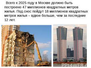 Всего к 2025 году в Москве должно быть построено 47 миллионов квадратных метров