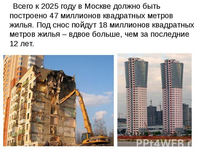Всего к 2025 году в Москве должно быть построено 47 миллионов квадратных метров жилья. Под снос пойдут 18 миллионов квадратных метров жилья – вдвое больше, чем за последние 12 лет. Всего к 2025 году в Москве должно быть построено 47 миллионов квадра…