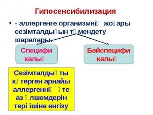 - аллергенге организмнің жоғары сезімталдығын төмендету шаралары. - аллергенге о