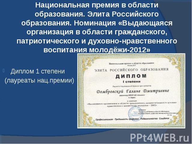 Национальная премия в области образования. Элита Российского образования. Номинация «Выдающаяся организация в области гражданского, патриотического и духовно-нравственного воспитания молодёжи-2012»