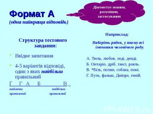 Формат А (одна найкраща відповідь) Наприклад: Виберіть рядок, у якому всі іменни