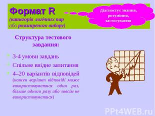 Формат R (категорія логічних пар або розширеного вибору) Структура тестового зав