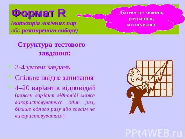 Формат R (категорія логічних пар або розширеного вибору) Структура тестового завдання: 3-4 умови завдань Спільне ввідне запитання 4–20 варіантів відповідей (кожен варіант відповіді може використовуватися один раз, більше одного разу або зовсім не ви…