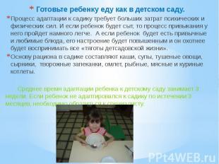 Готовьте ребенку еду как в детском саду.Процесс адаптации к садику требует больш