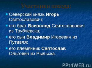Северский князь Игорь Святославович; Северский князь Игорь Святославович; его бр