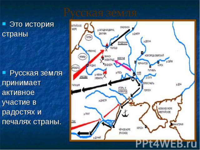 Это история Это история страны Русская земля принимает активное участие в радостях и печалях страны.
