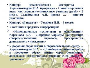 Конкурс педагогического мастерства – Хирамагомедова И.А. программа « Сюжетно-рол