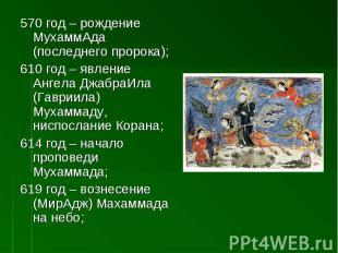570 год – рождение МухаммАда (последнего пророка); 610 год – явление Ангела Джаб