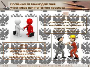 Особенности взаимодействия участников политического процесса